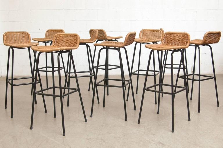 Set Of Ten Charlotte Perriand Style Wicker Bar Stools At 1stdibs