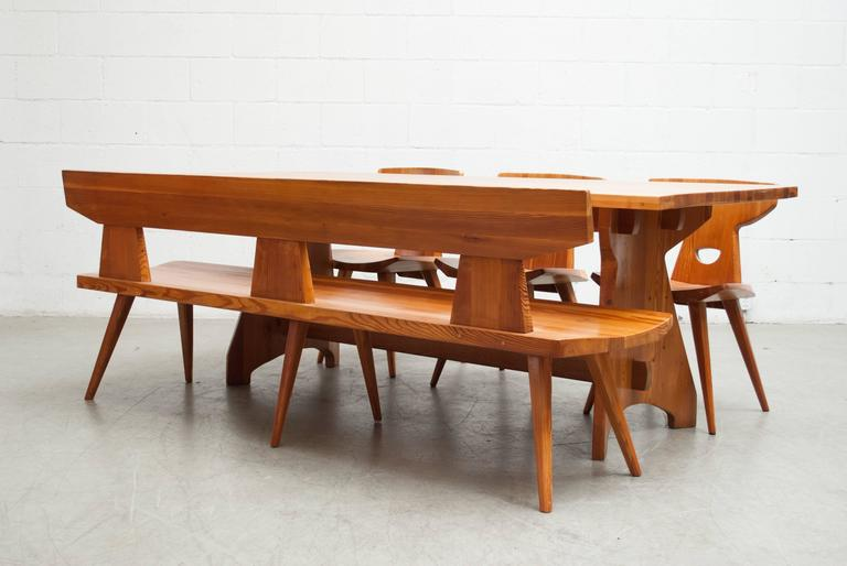 Mid Century Modern Pine Dining Set By Jacob Kielland Brandt For I.  Christiansen