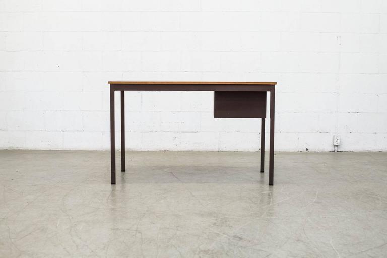 Enameled Industrial Metal Desk For Sale