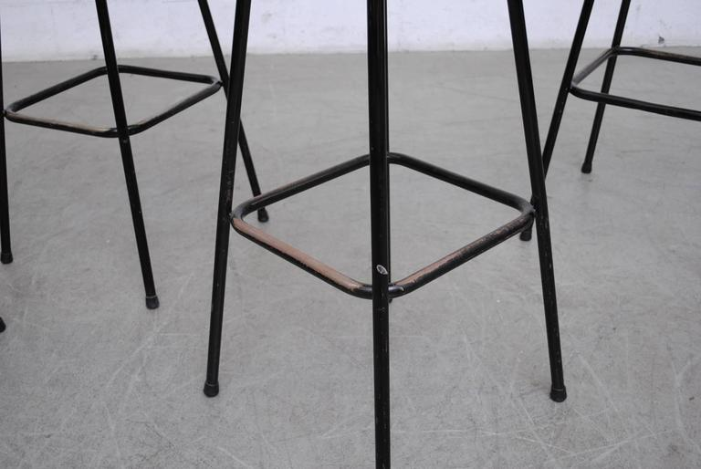 Metal Charlotte Perriand Style Wicker Bar Stools For Sale