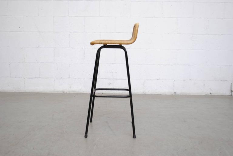Dutch Charlotte Perriand Style Wicker Bar Stools For Sale