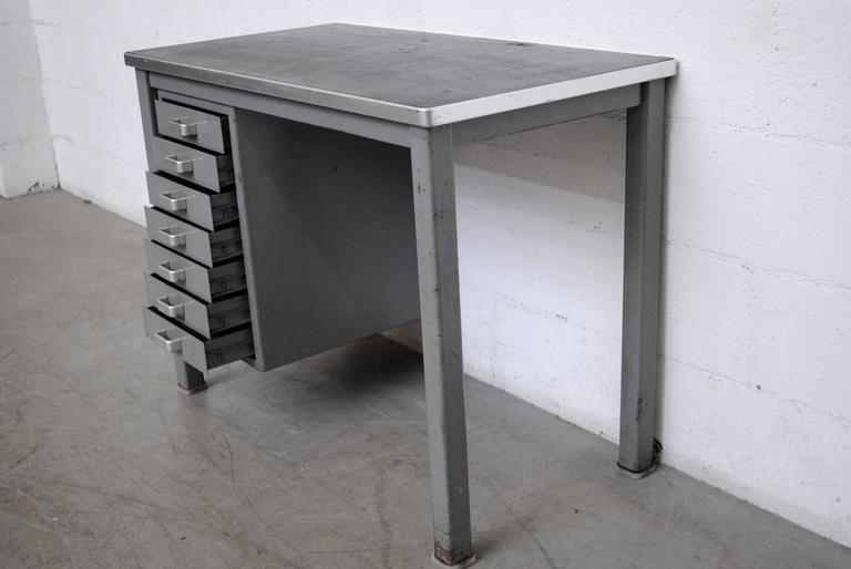 Mid-Century Modern Small Dutch Metal Industrial Desk For Sale