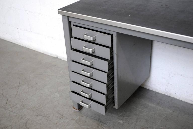 Small Dutch Metal Industrial Desk In Good Condition For Sale In Los Angeles, CA