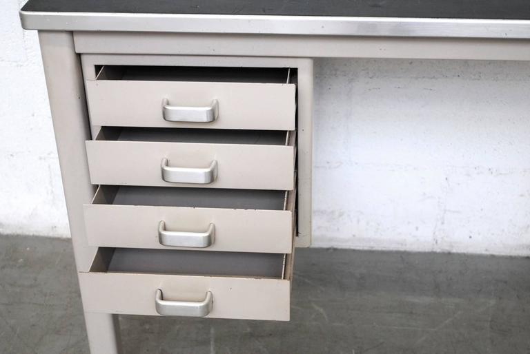 Enameled Small Dutch Industrial Desk or Vanity For Sale