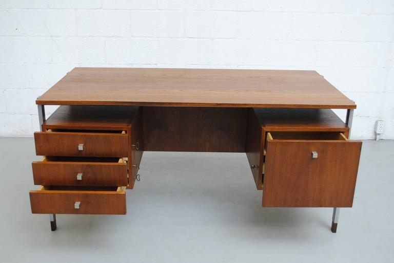 Mid-Century Modern Alfred Hendrickx attributed Teak Writing Desk For Sale