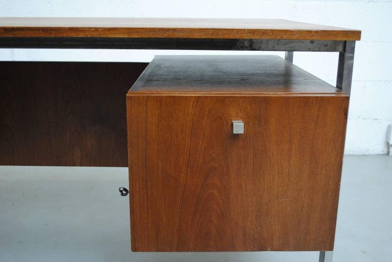 Steel Alfred Hendrickx attributed Teak Writing Desk For Sale