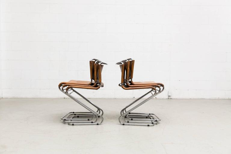 Leather Set of Six Biscia Chairs by Pascal Mourgue for Steiner Meubles For Sale