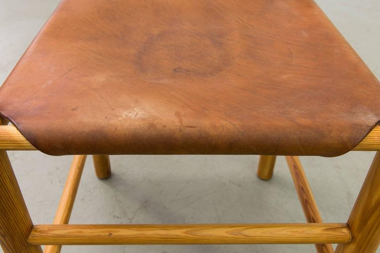 Set of Six Perriand Style Birch and Leather Dining Chairs 10