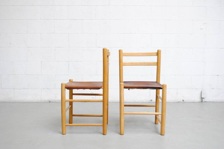 Mid-Century Modern Pair of Charlotte Perriand Style Birch and Leather Side Chairs For Sale