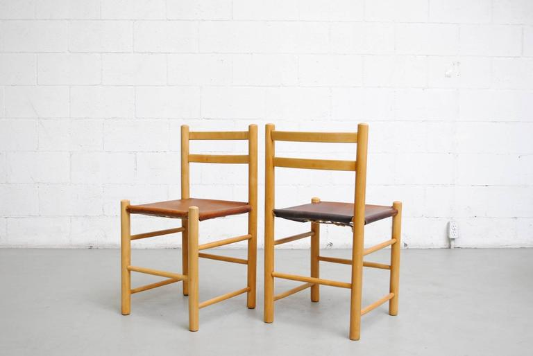 Dutch Pair of Charlotte Perriand Style Birch and Leather Side Chairs For Sale
