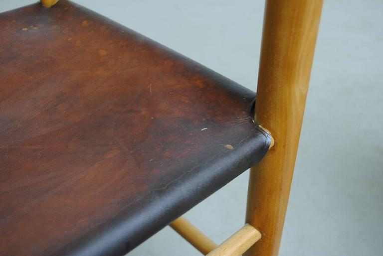 Pair of Charlotte Perriand Style Birch and Leather Side Chairs For Sale 3