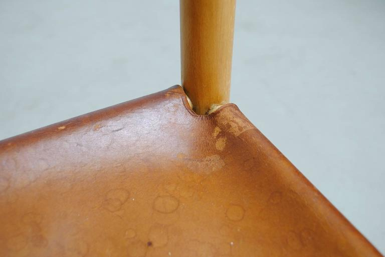 Pair of Charlotte Perriand Style Birch and Leather Side Chairs For Sale 4