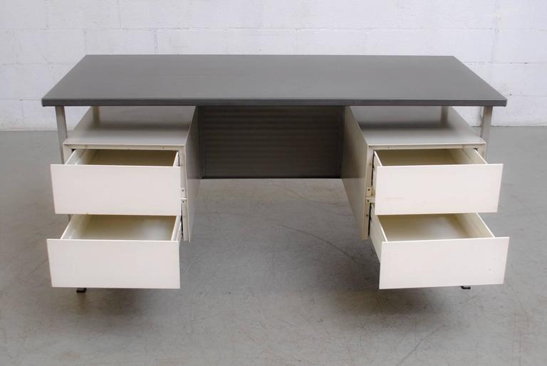 Enameled Gispen Industrial Desk by a.R. Cordemeyer For Sale