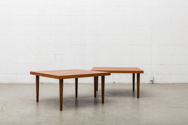 Handsome Pair of Square Teak Side or Coffee Tables 2
