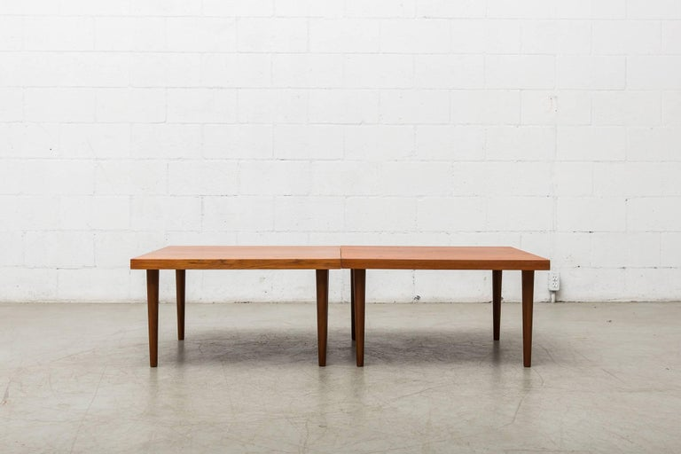 Handsome Pair of Square Teak Side or Coffee Tables 3