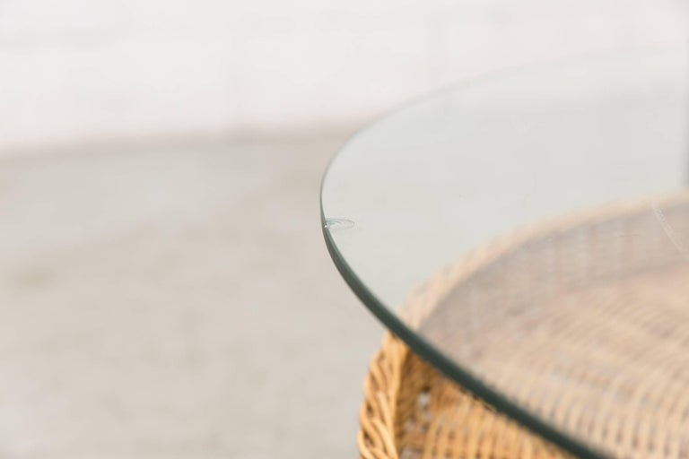 Glass Modernist Two-Tiered Round Coffee Table with Rattan Basket For Sale