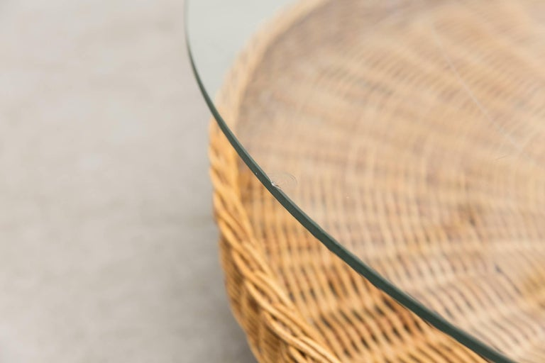 Modernist Two-Tiered Round Coffee Table with Rattan Basket For Sale 1