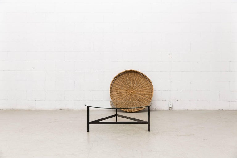 Mid-Century Modern Modernist Two-Tiered Round Coffee Table with Rattan Basket For Sale