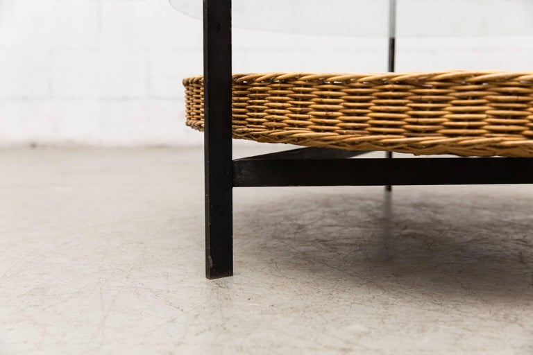 Dutch Modernist Two-Tiered Round Coffee Table with Rattan Basket For Sale