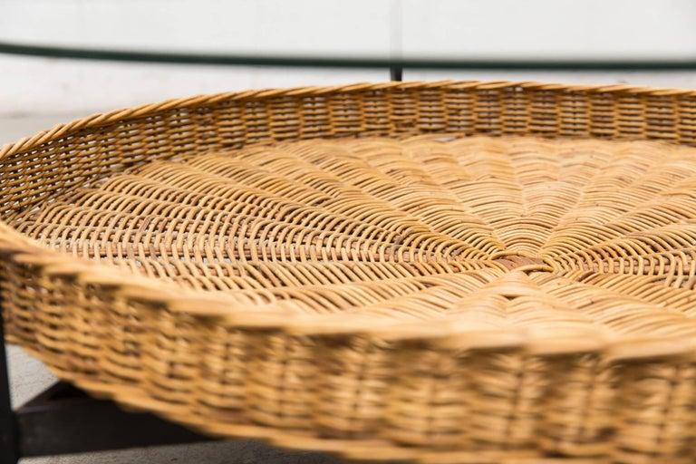 Modernist Two-Tiered Round Coffee Table with Rattan Basket For Sale 2