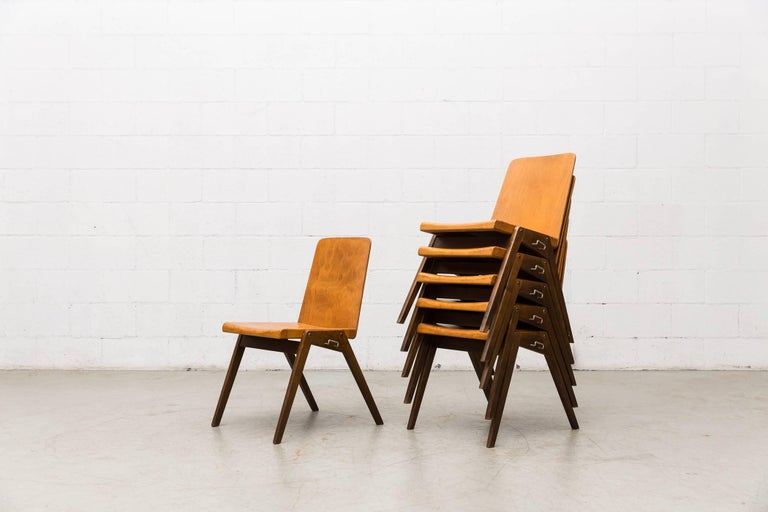 Gorgeous Roland Rainer style stacking school chairs. Light natural wood seats and chocolate wood legs. Hooks on sides used to connect chairs for group/bench seating. Original condition.