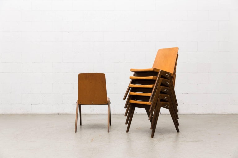 Austrian Stacking Roland Rainer Style Two-Toned Stacking School Chairs For Sale