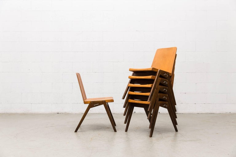 Stacking Roland Rainer Style Two-Toned Stacking School Chairs In Good Condition For Sale In Los Angeles, CA