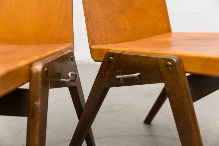Mid-20th Century Stacking Roland Rainer Style Two-Toned Stacking School Chairs For Sale