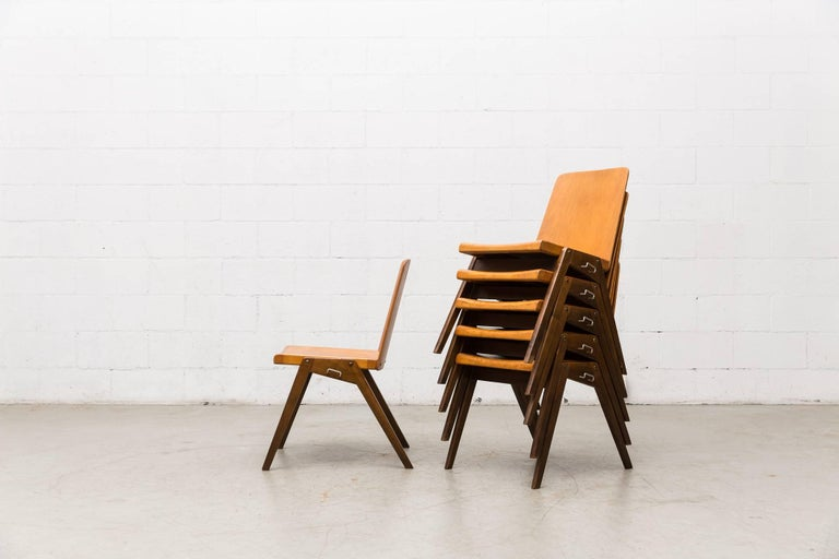 Mid-Century Modern Stacking Roland Rainer Style Two-Toned Stacking School Chairs For Sale