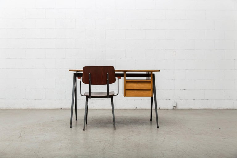Mid-Century Modern Prouve Inspired Industrial Desk and Chair Set For Sale