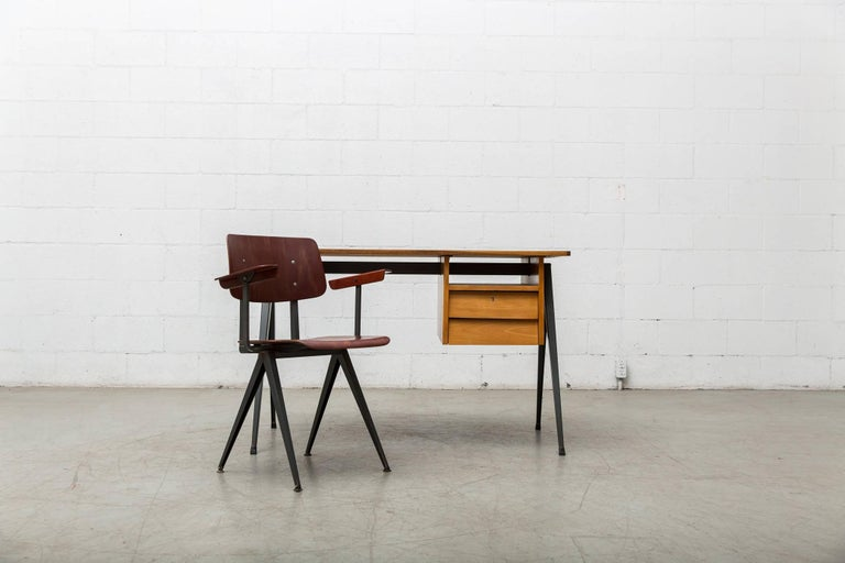 Dutch Prouve Inspired Industrial Desk and Chair Set For Sale