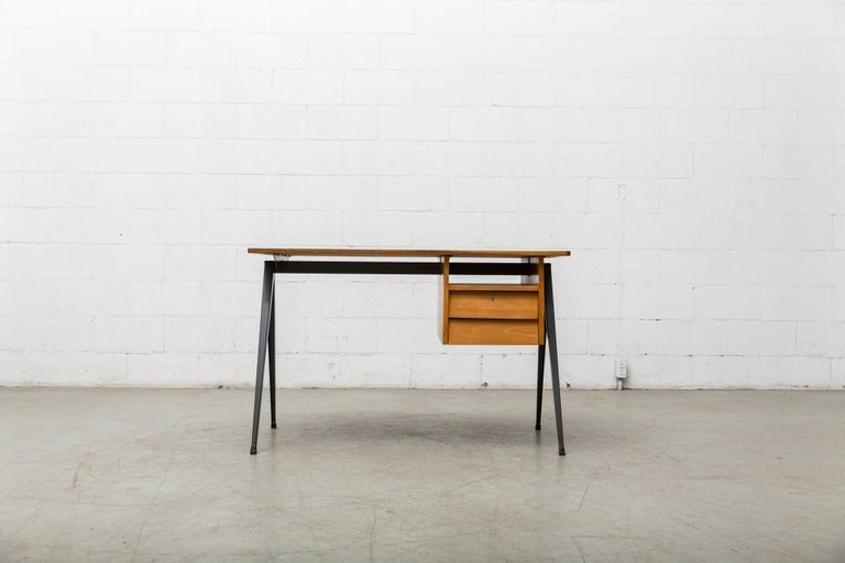 Prouve Inspired Industrial Desk and Chair Set 2