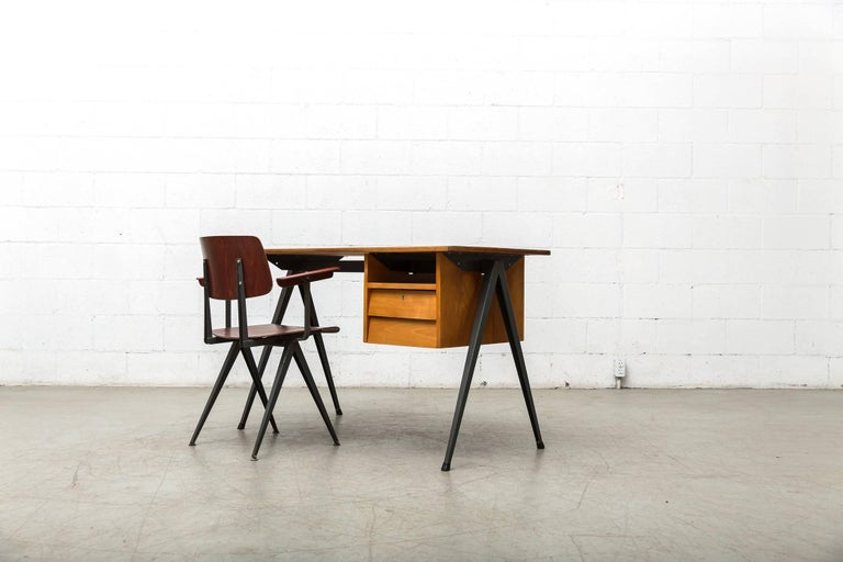 Mid-20th Century Prouve Inspired Industrial Desk and Chair Set For Sale
