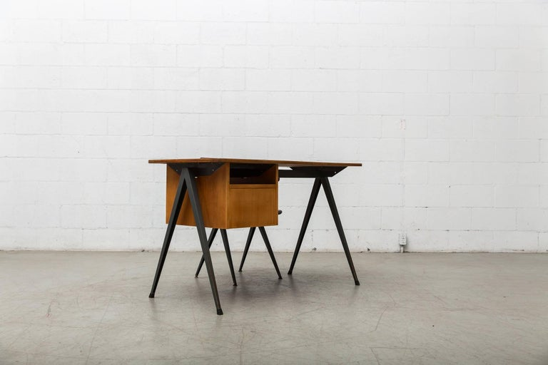 Metal Prouve Inspired Industrial Desk and Chair Set For Sale