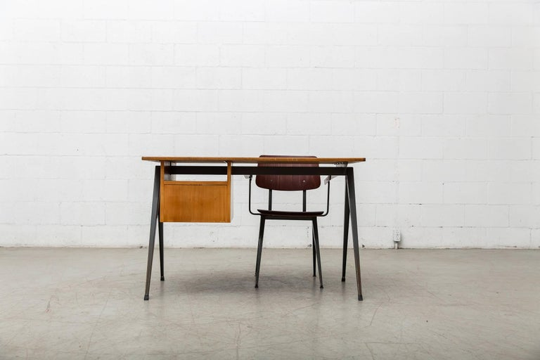 Prouve Inspired Industrial Desk and Chair Set For Sale 1
