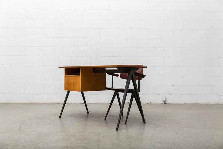 Prouve Inspired Industrial Desk and Chair Set For Sale 2