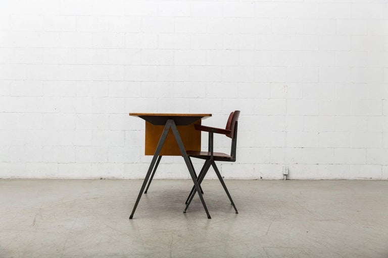 Prouve Inspired Industrial Desk and Chair Set For Sale 3