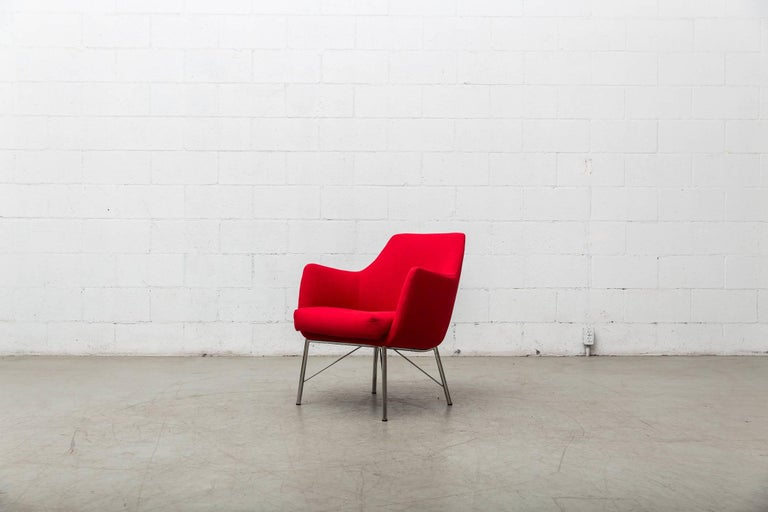 Pair of Red Ekelius Lounge Chairs for Pastoe 3