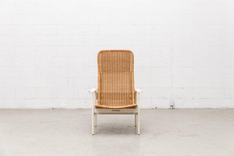 Dirk Van Sliedregt High Back Rattan Lounge Chair with White Frame 2