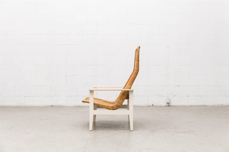 Mid-Century Modern Dirk Van Sliedregt High Back Rattan Lounge Chair with White Frame For Sale