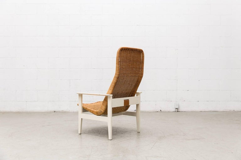 Dutch Dirk Van Sliedregt High Back Rattan Lounge Chair with White Frame For Sale