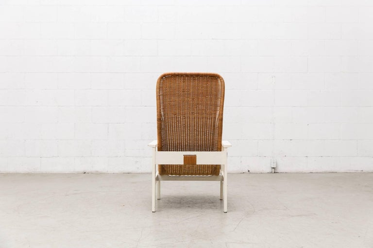 Painted Dirk Van Sliedregt High Back Rattan Lounge Chair with White Frame For Sale