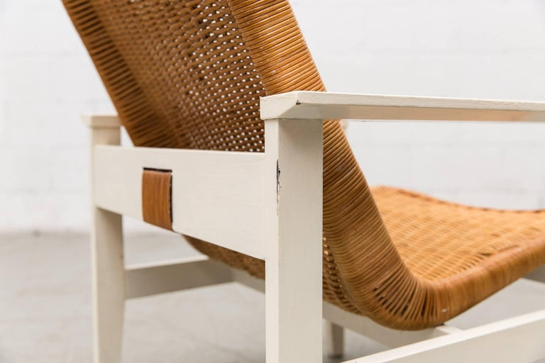 Dirk Van Sliedregt High Back Rattan Lounge Chair with White Frame In Good Condition For Sale In Los Angeles, CA