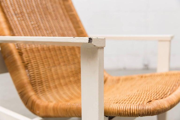 Dirk Van Sliedregt High Back Rattan Lounge Chair with White Frame 7