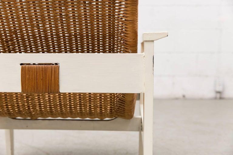 Dirk Van Sliedregt High Back Rattan Lounge Chair with White Frame 8