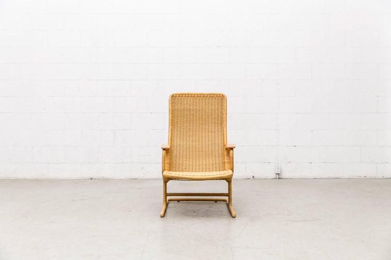 Dirk Van Sliedregt Rattan Lounge Chair with Wood Arms 2