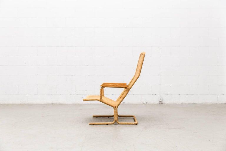 Dirk Van Sliedregt Rattan Lounge Chair with Wood Arms 3