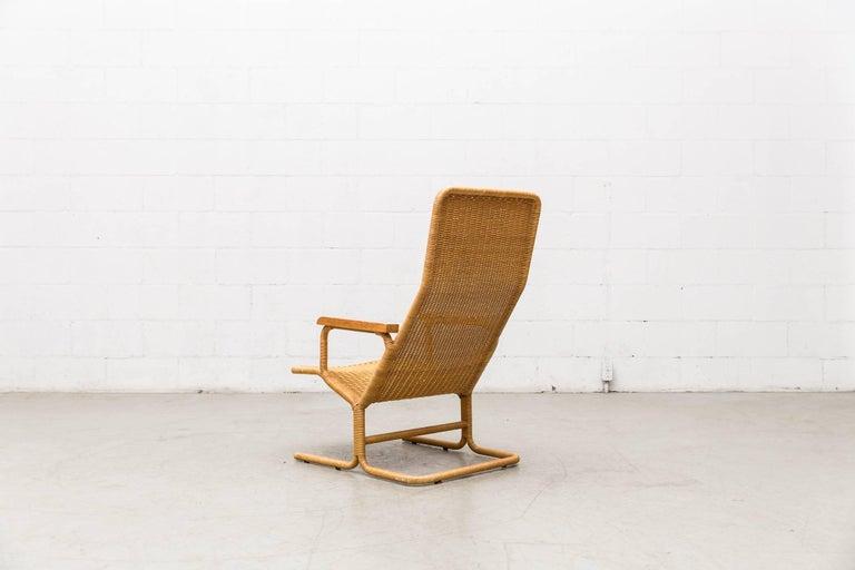 Dirk Van Sliedregt Rattan Lounge Chair with Wood Arms 4