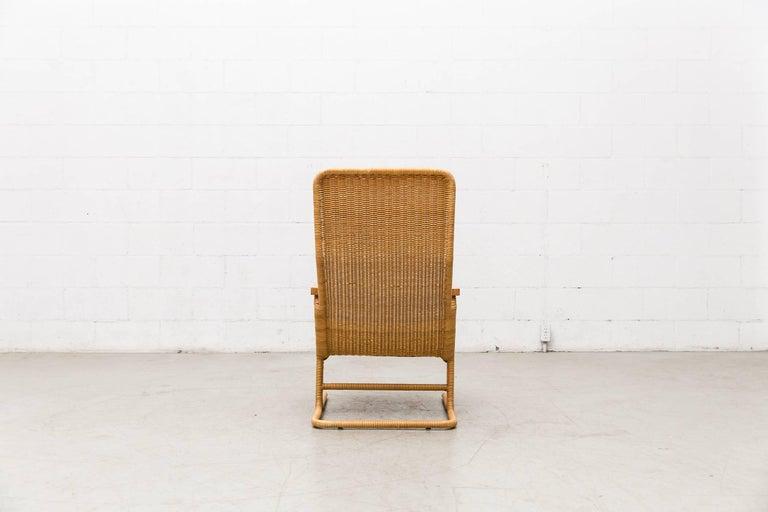 Dirk Van Sliedregt Rattan Lounge Chair with Wood Arms 5