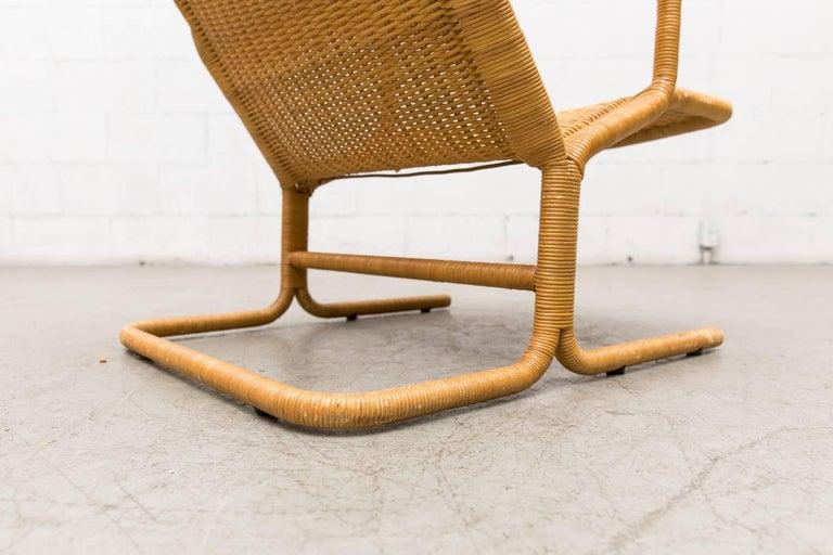 Dirk Van Sliedregt Rattan Lounge Chair with Wood Arms 6